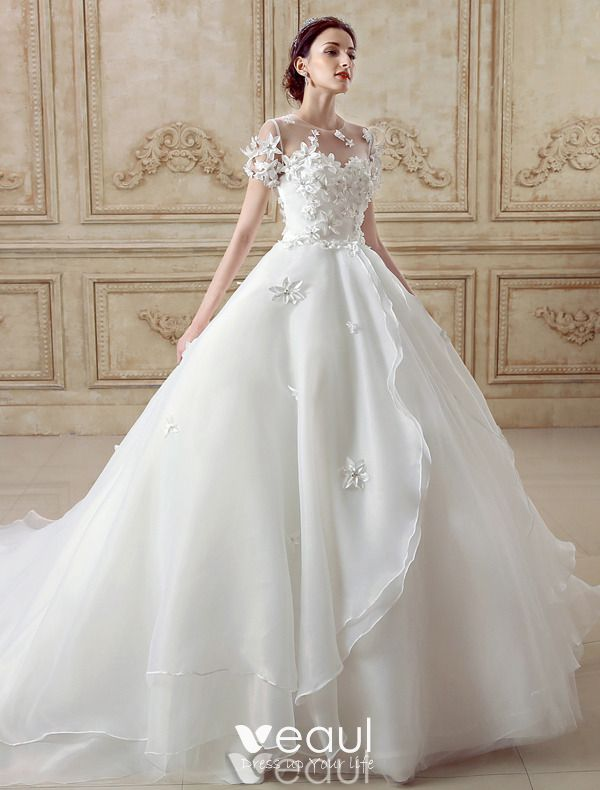 Elegant Ball Gown Wedding Dress 2016 Short Sleeves Backless Handmade Flowers
