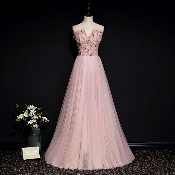 Schöne Rosa Abendkleider 2020 A Linie Herz-Ausschnitt Ärmellos Perlenstickerei Glanz Tülle Lange Rüschen Rückenfreies Festliche Kleider