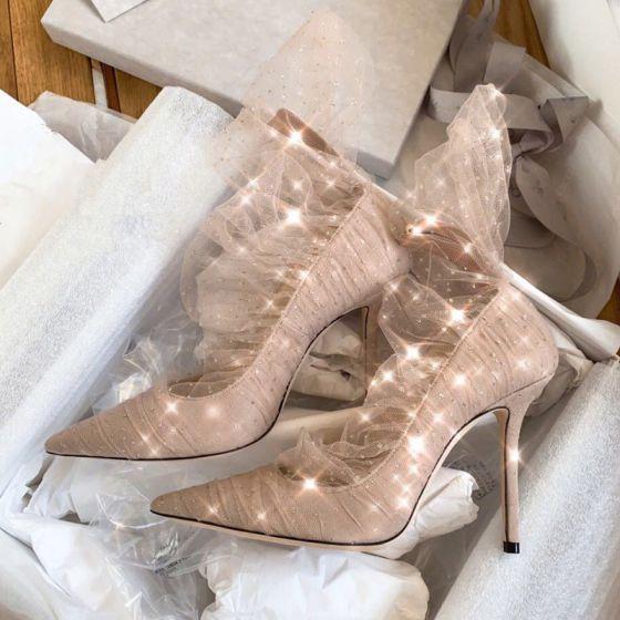 Mode Nude Selskabs Pumps 2019 Pailletter Blonde 10 cm Stiletter Spidse Tå Pumps