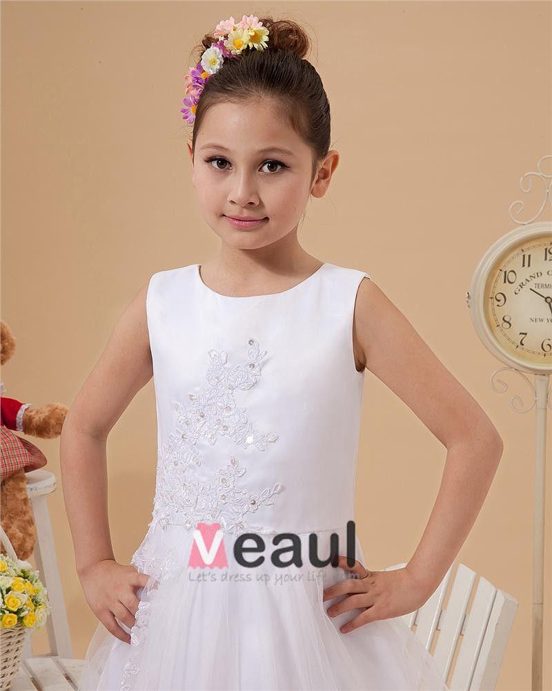 Cute A-Line Floor Length Satin Tulle Flower Girl Dresses