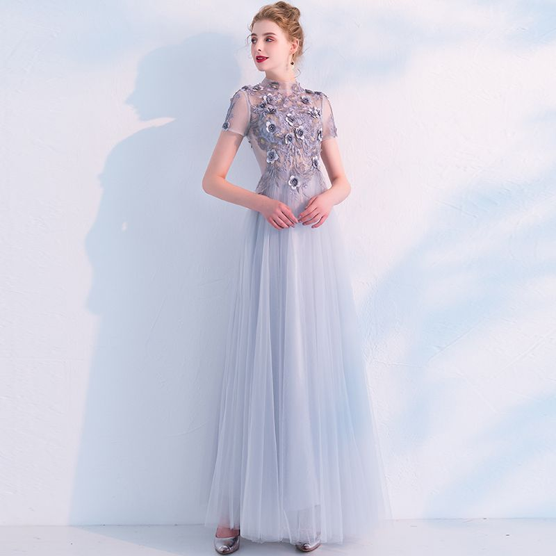 Elegant Grey Prom Dresses 2019 A-Line / Princess High Neck See-through Lace Flower Appliques Pearl Short Sleeve Floor-Length / Long Formal Dresses