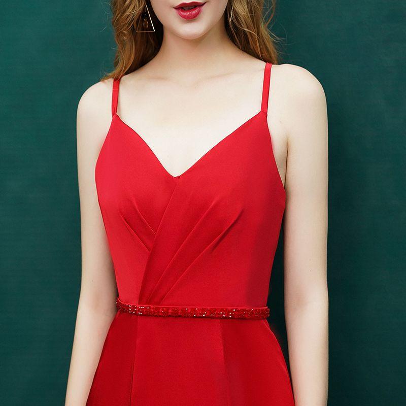Sexy Rode Avondjurken 2019 Trompet / Zeemeermin Kristal Spaghettibandjes Ruglooze Mouwloos Sweep Trein Gelegenheid Jurken