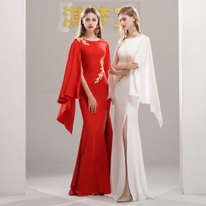 Chinese style Evening Dresses  2020 Trumpet / Mermaid Scoop Neck Long Sleeve Appliques Lace Split Front Floor-Length / Long Formal Dresses