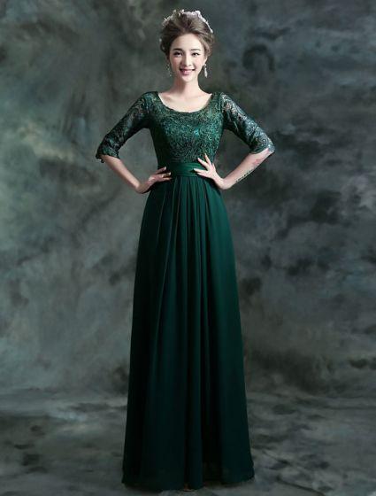 Modesto Vestido De Noche De Encaje Largo Vestido Formal Verde Oscuro Con Mangas