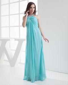 Mousseline De Soie Plissee Imitation Perles Halter Robe De Fete De Soirée De Longueur De Mode