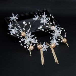 Moderne / Mode Blanche Boucles D'Oreilles Accessoire Cheveux Perlage Fleur Perle Métal Promo Mariage Accessorize 2019