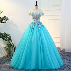 Traditional Jade Green Prom Dresses 2018 Ball Gown Appliques Lace Flower Pearl Scoop Neck Short Sleeve Floor-Length / Long Formal Dresses