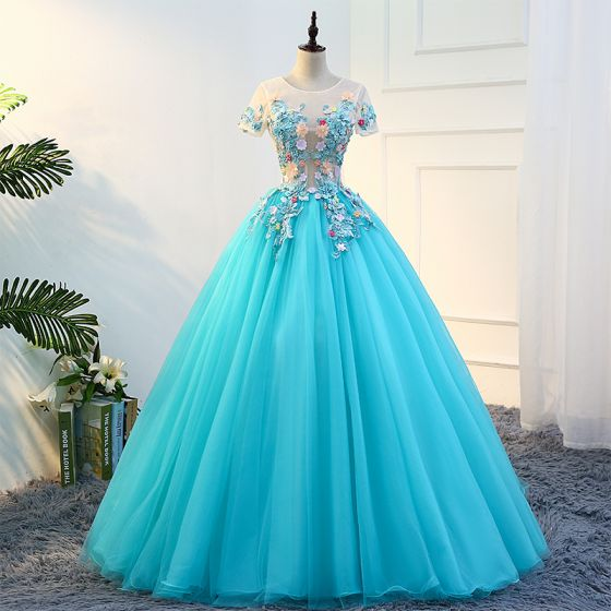 Traditional Jade Green Prom Dresses 2018 Ball Gown Appliques Lace ...