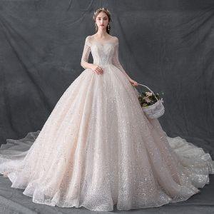 Luksusowe Szampan Przezroczyste Suknie Ślubne 2019 Suknia Balowa Wycięciem 3/4 Rękawy Bez Pleców Wykonany Ręcznie Frezowanie Cekinami Tiulowe Trenem Katedra Wzburzyć