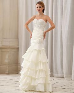 Stylish Slim Sequin Ruffle Floor Length Strapless Taffeta Mermaid Wedding Dress