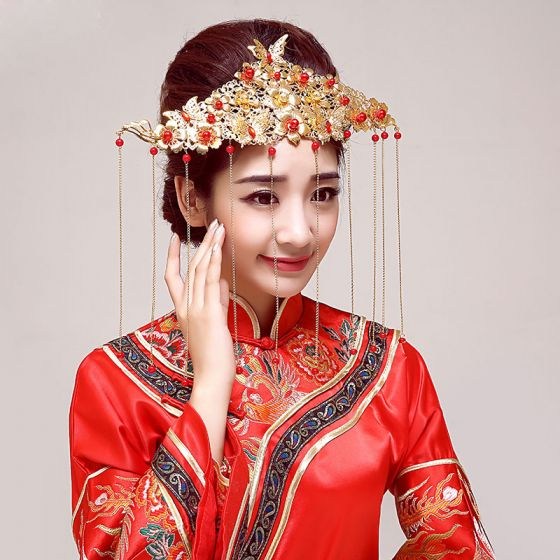 Chinese Stijl Klassieke Bruids Hoofdtooi / Head Bloem / Bruiloft Haar Accessoires / Bruiloft Sieraden