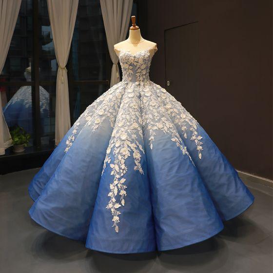 Flower Fairy Ocean Blue See-through Dancing Prom Dresses 2020 Ball Gown Scoop Neck Sleeveless White Appliques Flower Beading Floor-Length / Long Ruffle Formal Dresses