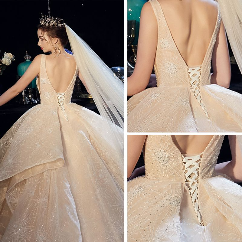 Luxury / Gorgeous Champagne Wedding Dresses 2019 A-Line / Princess Deep V-Neck Sleeveless Backless Beading Cathedral Train Cascading Ruffles