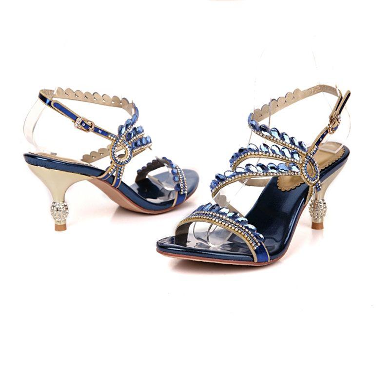 Chic / Beautiful Silver 2018 Beach Casual Beading Crystal Rhinestone Womens Shoes