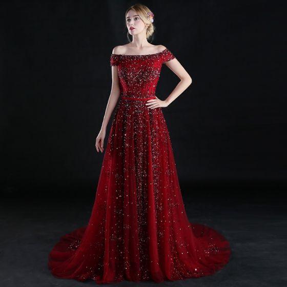 Sparkly A-Line / Princess Burgundy 2017 Evening Dresses  Short Sleeve Off-The-Shoulder Backless Beading Sequins Ruffle Formal Dresses Sweep Train