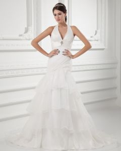 Organza Ruffle Halter Court Train Tiered Mermaid Wedding Dress