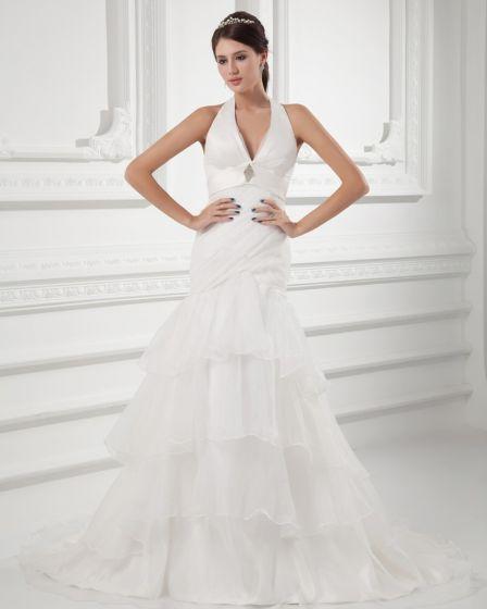Organza Ruffle Halter Court Train Tiered Mermaid Wedding Dress