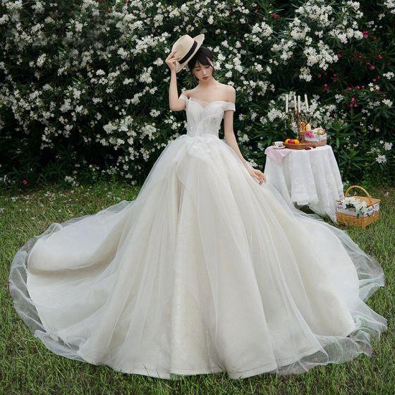 High End Champagner Brautkleider / Hochzeitskleider 2019 Ballkleid Off Shoulder Spitze Blumen Ärmellos Rückenfreies Königliche Schleppe