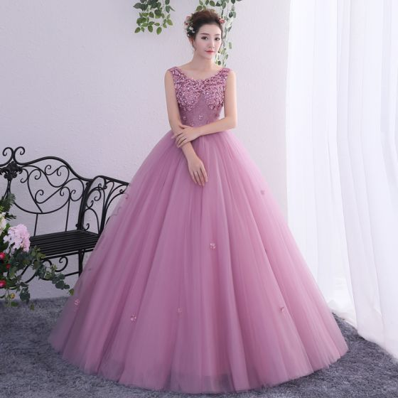 Chic / Beautiful Blushing Pink Prom Dresses 2019 A-Line / Princess Scoop Neck Beading Lace Flower Appliques Sleeveless Backless Floor-Length / Long Formal Dresses