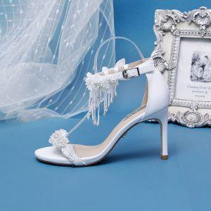 Unique Ivory / Creme Hochzeit Brautschuhe 2020 Perlenstickerei Quaste Perle Strass Applikationen 9 cm Stilettos Peeptoes High Heels