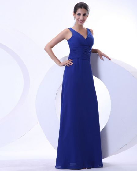 Elegant Chiffon Ruffles V Neck Floor Length Mother of the Bride Dress