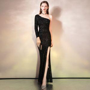 Sparkly Black Sequins Evening Dresses  2020 Trumpet / Mermaid One-Shoulder Long Sleeve Split Front Floor-Length / Long Backless Formal Dresses