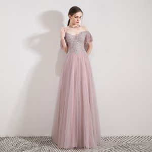 Classy Blushing Pink Evening Dresses  2019 A-Line / Princess Off-The-Shoulder Short Sleeve Beading Rhinestone Floor-Length / Long Ruffle Backless Formal Dresses