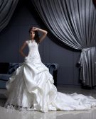 Satin Lace Beaded Applique Ruffle V Neck Chapel Bridal Ball Gown Wedding Dress