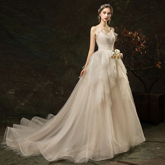 Modern / Fashion Ivory Ruffle Wedding Dresses 2019 A-Line / Princess Spaghetti Straps Sleeveless Backless Court Train