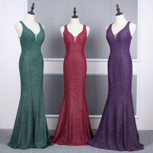 Erschwinglich Abendkleider 2020 Meerjungfrau Schultern Ärmellos Glanz Polyester Lange Rüschen Rückenfreies Festliche Kleider