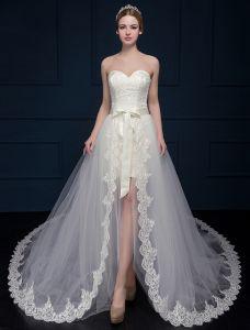 A-line Prinsessa Älskling Asymmetrisk Spets Bröllopsklänning