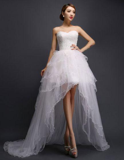 A-linje kort og mini kjæreste asymmetrisk tyll brudekjoler