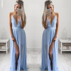 Sexy Sky Blue Chiffon Summer Maxi Dresses 2018 V-Neck Spaghetti Straps Sleeveless Split Front Floor-Length / Long Ruffle Backless Womens Clothing