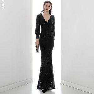 Sparkly Black Sequins Evening Dresses  2020 Trumpet / Mermaid V-Neck Puffy Long Sleeve Floor-Length / Long Formal Dresses