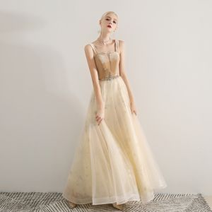 Modern / Fashion Champagne Prom Dresses 2019 A-Line / Princess Shoulders Sleeveless Glitter Sequins Beading Floor-Length / Long Ruffle Backless Formal Dresses