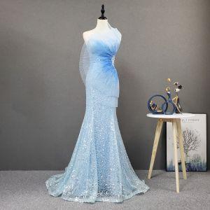 Uroczy Błękitne Czerwony dywan Sukienki Wieczorowe 2020 Syrena / Rozkloszowane Kochanie Bez Rękawów Frezowanie Cekiny Cekinami Tiulowe Trenem Sweep Bez Pleców Wzburzyć Sukienki Wizytowe
