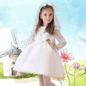 Langärmelige Kleid Prinzessin Blumenmädchenkleider Kommunionkleider