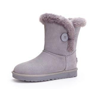 Schlicht Schneestiefel 2017 Grau Leder Mitte Der Wade Wildleder Schaltflächen Freizeit Winter Flache Stiefel Damen