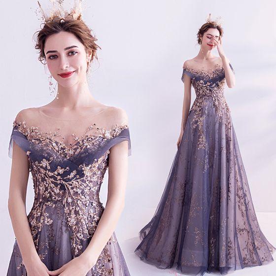 Elegant Purple Glitter Prom Dresses 2020 A-Line / Princess Scoop Neck Beading Rhinestone Sequins Lace Flower Short Sleeve Backless Sweep Train Formal Dresses