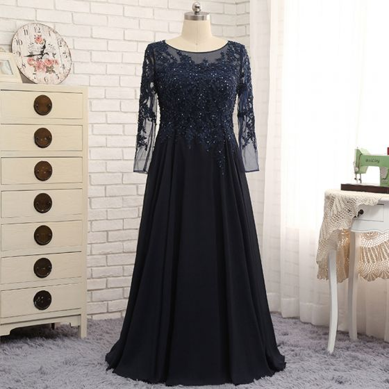 Chic / Beautiful Navy Blue Evening Dresses  2017 A-Line / Princess Sweep Train Beading Sequins Lace Scoop Neck Zipper Up Backless Long Sleeve Evening Party