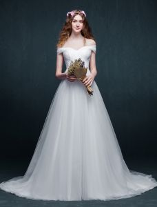 2015 Simple A-line Off The Shoulder Ruffle Organza Wedding Dress