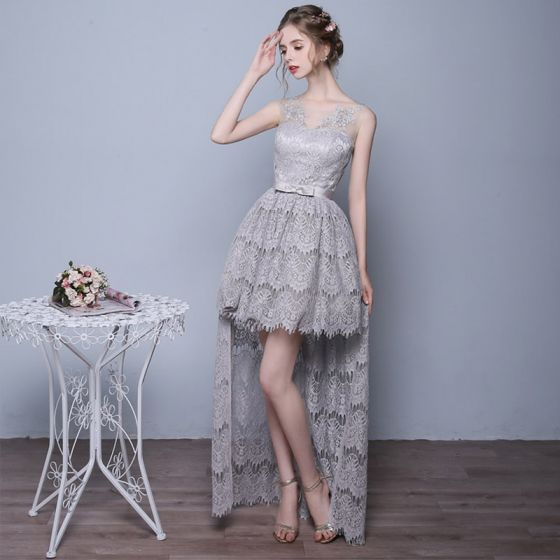 Chic / Beautiful Grey Cocktail Dresses 2017 A-Line / Princess U-Neck Lace Pierced Appliques Backless Cocktail Party Party Dresses