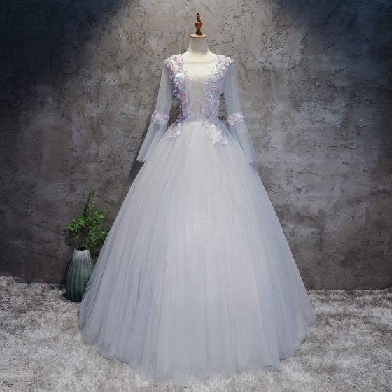 Chic / Beautiful Silver Prom Dresses 2017 Ball Gown Scoop Neck Long Sleeve Appliques Lace Flower Floor-Length / Long Pleated Pierced Backless Formal Dresses