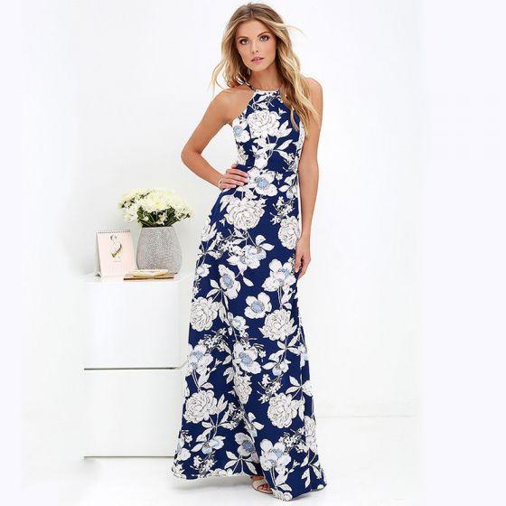 c7b9039e9f Stylowe   Modne Granatowe Lato Długie sukienki 2018 Posiadacz Bez Rękawów  Druk Kwiat Długie Bez Pleców Odzież damska