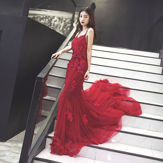 Chic / Beautiful Evening Party Formal Dresses 2017 Evening Dresses  Burgundy Trumpet / Mermaid Lace Flower Shoulders Sleeveless
