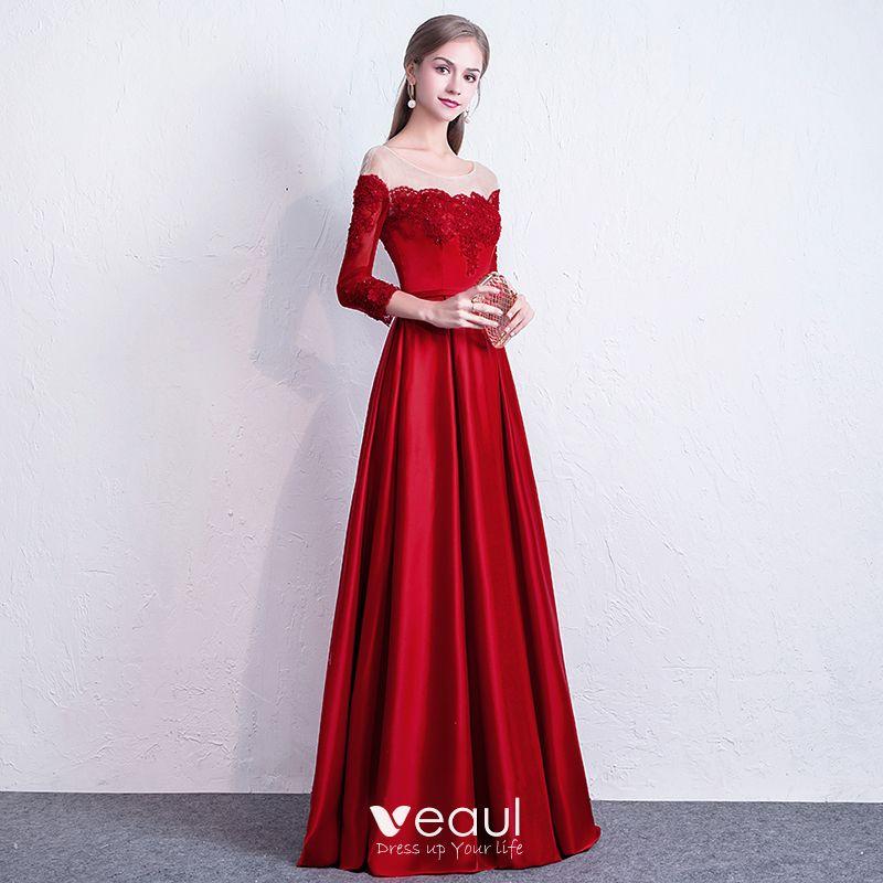 Elegante Rot Abendkleider 2017 A Linie Rundhalsausschnitt ...