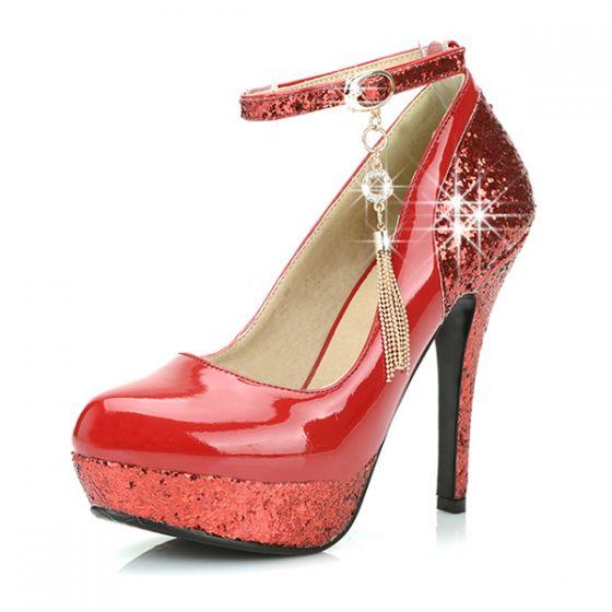 Tacón Brillante Alto Rojo Noche Charol Los Color Zapatos Mujer Para Bombas De POTkuXZi