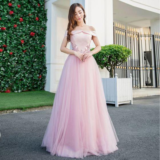 Hermoso Rosa Vestidos de gala 2018 A-Line / Princess Apliques Perla Fuera Del Hombro Sin Espalda Sin Mangas Largos Vestidos Formales