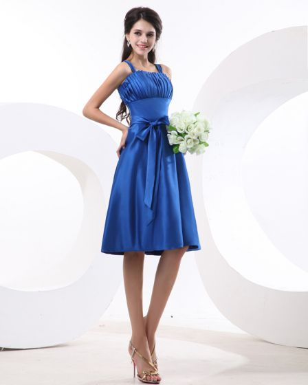 Fashion Spaghetti Straps Satin Pleated Knee Length Bridesmaid Dress