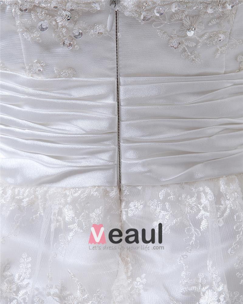 V Neck Stain Beading Ruffles Lace Knee High Wedding Dress